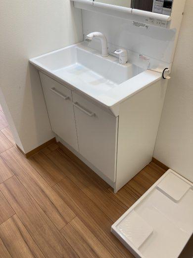 3面鏡洗面化粧台+洗濯機置場
